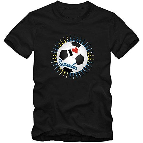 Schweden EM 2016 #6 T-Shirt | Fußball | Herren | Trikot | Blågult | Nationalmannschaft © Shirt Happenz Schwarz (Deep Black L190)