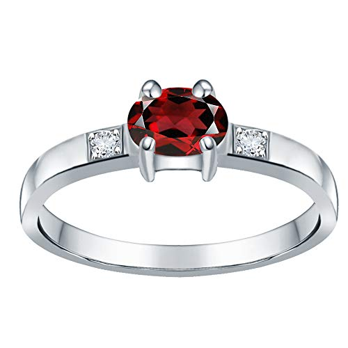 Orchid Jewelry Unisex Damen - Sterling-Silber 925 Sterling-Silber 925 Oval Rund White Red