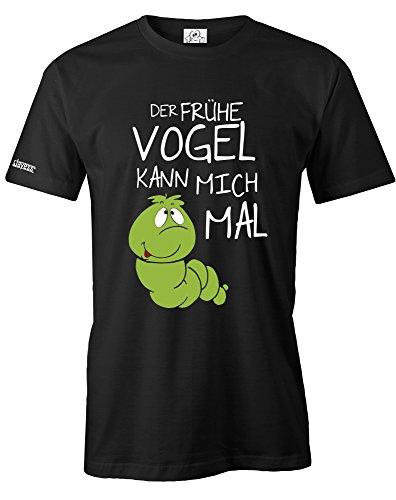 DER FRÜHE VOGEL KANN MICH MAL - RAUPE DELUXE - HERREN - T-SHIRT in Schwarz by Jayess Gr. M
