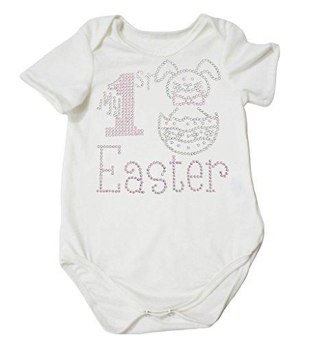 My 1st Easter Dress Bunny Egg White Cotton Jumpsuit Bodysuit Baby Romper Nb-18m (12-18 Months) (Meine Mädchen Bunny Kostüm)