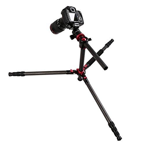 K&F Concept TC2534T Carbon Stativ Kamerastativ Reisestativ mit 90 Grad Mittelsäulen und Einbeinsativ-Funktion 183,5cm