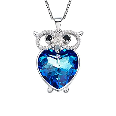 Necklace,Cute Owl Crystal CDE Women Pendant Jewellery Swarovski Crystal Necklaces Silver Jewellery Gifts for Women Girlfriend Mother