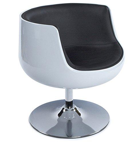 Alterego - Fauteuil design 'DEKO' boule rotatif blanc noir