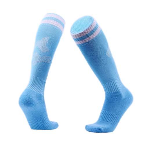 Dünner Unisex Fußball-Socken lange Strümpfe Sportsocken Erwachsen Kinder Streifen Frühling Sommer (Hellblau, L/XL 36-44)