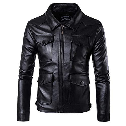 B-commerce Mens Shirt, Herren Langarm-Lederhemd (Slim Fit) aus Lamm Echt Leder in Schwarz