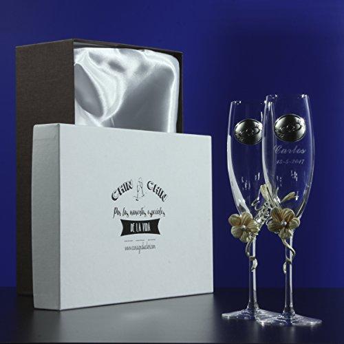 Estuche dos copas para boda grabadas y con flor
