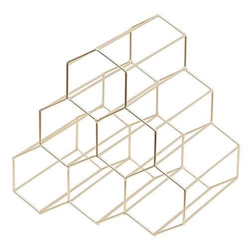Weinständer - Nordischer Stil Metall gebürstetes Gold & geometrisches Design Flaschenregal...
