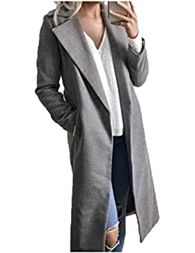 Ranboo Donne Cappotto lungo a maniche lunghe Tasca in cotone Outwear Casual Cardigan Overcoat