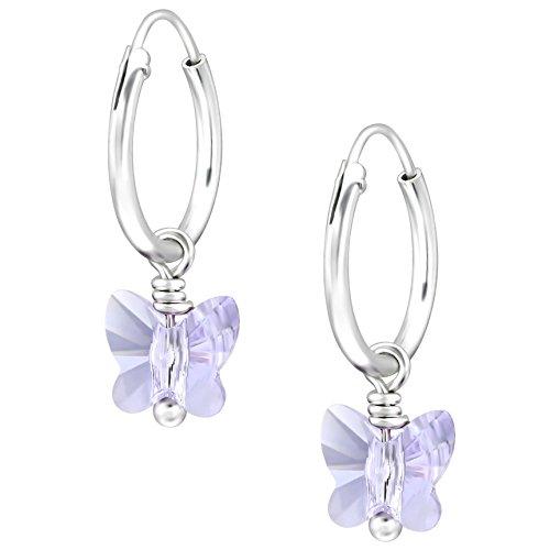 JAYARE Kinder Creolen Schmetterlinge 925 Sterling Silber Swarovski Elements Kristalle 18 x 6 mm lila-violett Mädchen Ohrringe im Geschenketui (X-ring Swarovski)