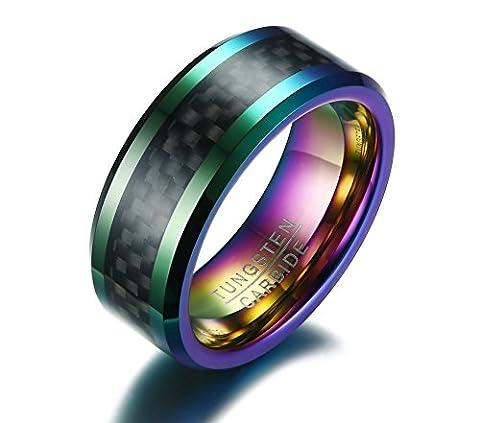 Vnox 8mm Carbure de tungstène pour hommes en fibre de carbone noir Inlay Bague de fiançailles en mariage Multicolore plaqué