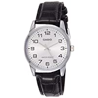 Casio Men's Grey Dial Leather Band Watch - MTP-V001L-7BUDF