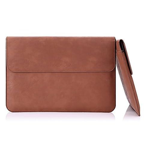 MoKo MacBook Air / Pro 13.3 Zoll Laptop Hülle - PU Leder Tasche Schutzhülle Lederhülle Wallet Case Leather Sleeve Aktentasche mit Karten-Slot für Apple MacBook Air / Macbook Pro 13.3 Zoll, Braun