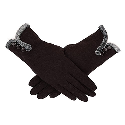 Janly Frauen Leder Wasserdichte Fahren Vollfinger Handschuhe Touchscreen Handschuh Maokou DREI Schnalle Cashmere warme Damen voller Finger Handschuhe (Kaffee)