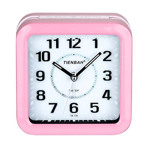 PINGHE Wecker, Leise Analoger Wecker Quadratische Form Nachttisch Alarm Wecker mit Nachtlicht Rosa