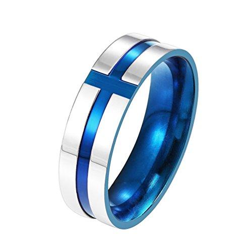 PROSTEEL Edelstahl Band Ring, 9mm Breit Christlicher Kreuz Kruzifix Ring Ehering Partnerring Geschenk für Männer Ringgrößen 57(18.1)