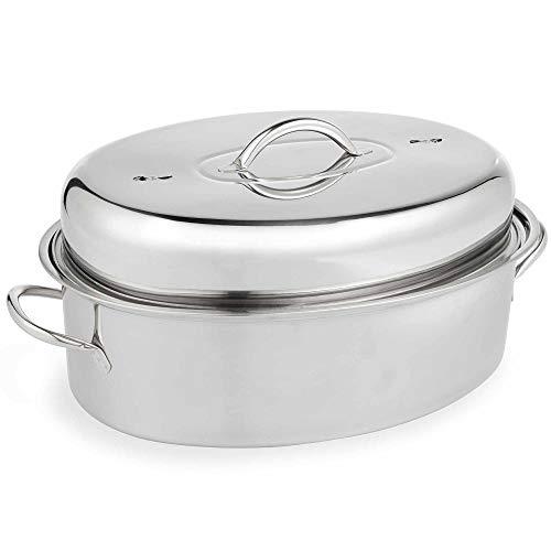 VonShef Cocotte américaine en acier inoxydable - Grand plat à rôtir à couvercle - Roaster idéal pour le poulet rôti, le rôti de dinde et les légumes