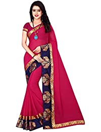 Om Sai Latest Creation Women's Clothing Lace Border Georgette Saree With Blouse Piece Material