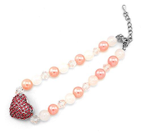 zunea Kleine Haustiere Hund Katze Rot rhinestore Love Herz Halskette Hund Jewelry Verstellbar 24,1cm -11.5