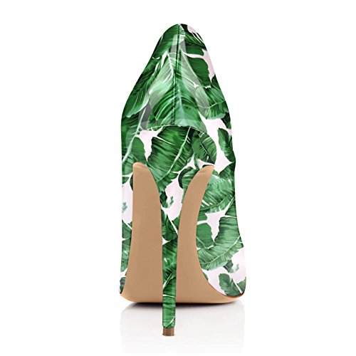 Damen Peep Toe Pumps Sandalen Blumendruck High-Heels Stiletto Slingback mit Plateau Stiletto Grün