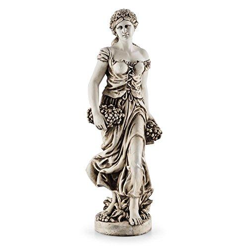 Blumfeldt Ceres • Skulptur • Statue • Gartenfigur • griechische Göttin • 1,2m Höhe • witterungs- und frostbeständig • für langjährige Aufstellung im Freien • Unikat • Naturstein-Optik • grau -