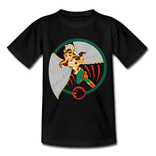 Spreadshirt DC Super Hero Girls Hawkgirl Keule Teenager T-Shirt, 152/164 (12-14 Jahre), Schwarz