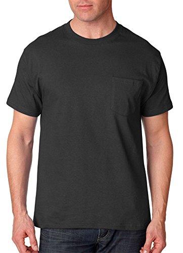 Hanes Adult High Stitch Ring Spun Preshrunk Pocket T-Shirt Black
