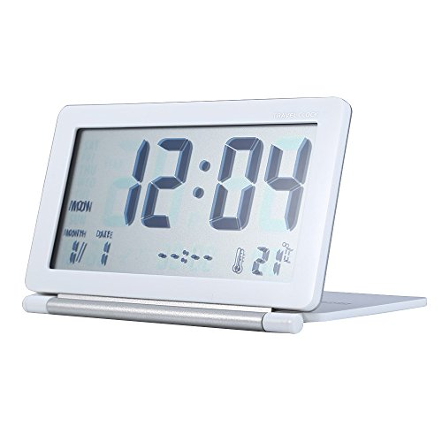 funktions schreibtisch Alxcio Digitale Wecker Ultra-slim Travel Taschen Faltbare Multifunktions Schreibtisch Tischuhr mit Datum / Temperatur-Anzeige / Snooze-Funktion (Weiß)