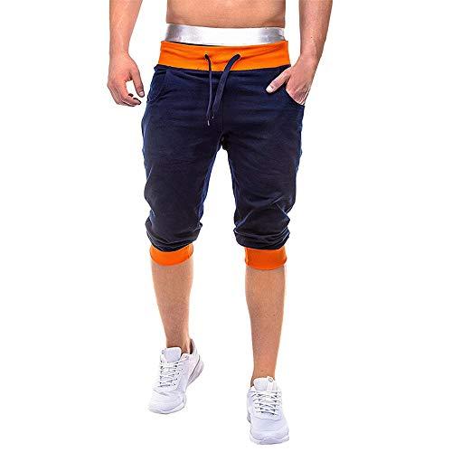 Aiserkly Herren Sommer Jogginghose Elastic Joggings Sport Solide Baggy Pockets Kurze Hose Bequeme Stoffhose Gap Straight Fit Jeans