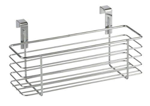 WENKO 2344100 Cesto sopra anta Slim, Metallo cromato, 24 x 11.5 x 10 cm, (Porta In Acciaio Inox Battenti)
