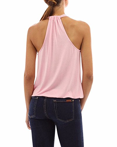 ZANZEA Femme Halter Col V Sans Manches à Bretelle Slim Vest Shirt Blouse Shirt Haut Tops Débardeur Rose