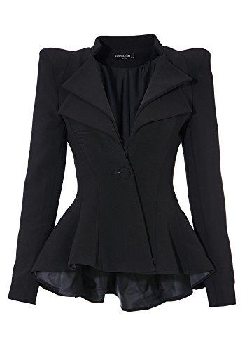 LookbookStore Damen Doppel-Kerbe Revers Sharp Fit-und-Flare Drip Blazer Anzug EU 34 (Hose, Anzug Doppel-revers,)