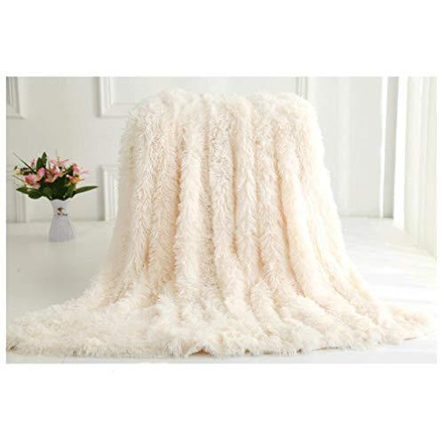 VasKinRey Kuscheldecke 200 x 230 cm Elfenbeinweiß Tagesdecke Lange Haare Flauschig Weiss Decke Microfaser TV Decke Klimaanlage Decke für Couch Bett