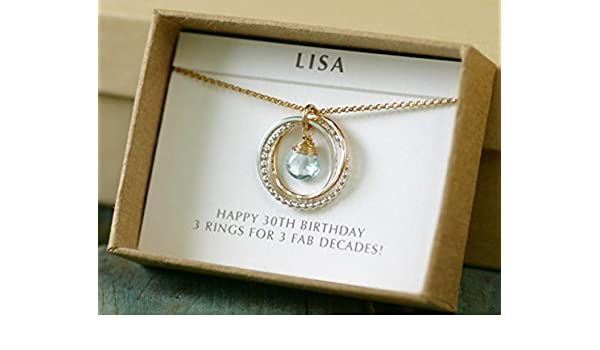 30th Birthday Gift For Her Sister Jewelry 3 Best Friends Interlocking Rings Necklace Topaz December Birthstone Amazoncouk