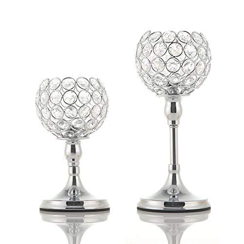 VINCIGANT Silber Kristall Kerzenständer Vintage 2er Set für Dekoration Wohnung Modern Hochzeit Sgeschenk Tisch Deko Urlaubs Feier,20cm&25cm Höhe
