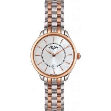Rotary Women's Quartz Watch with White Dial Analogue Display and Rose Gold Stainless Steel Bracelet LB02917/02 Best Price and Cheapest