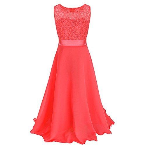 L-Peach Kinder Mädchen Kleid mit Chiffon Spitze Einfarbig Kleid für Hochzeit Feiertag Party Geburtstag Festlich Prinzessin Kleid Rot Größe 160