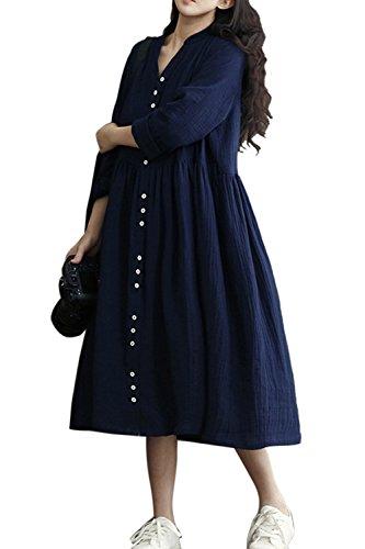 Zojuyozio le donne di cotone e lino vestito casual estiva in tunica vestiti di taglia navy xxl
