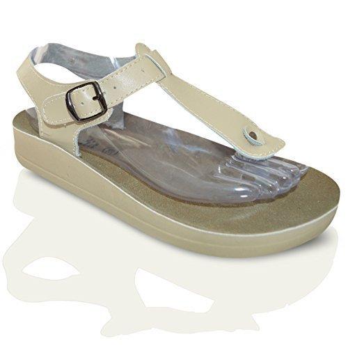 Damen Leder Freizeit Flach Sommer Strand Tanga T- Schnalle Zehentrenner Damen Sandalen Schuhe Größe EU 36-41 Beige Buckle Tanga