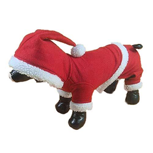 OFVV Haustier Weihnachts Kostüm Hund Anzug Mit Cap Santa Claus Mantel Hoodies Für Kleine Hunde Katzen Lustige Welpen Weihnachtsfeier Kleidung,Red,L
