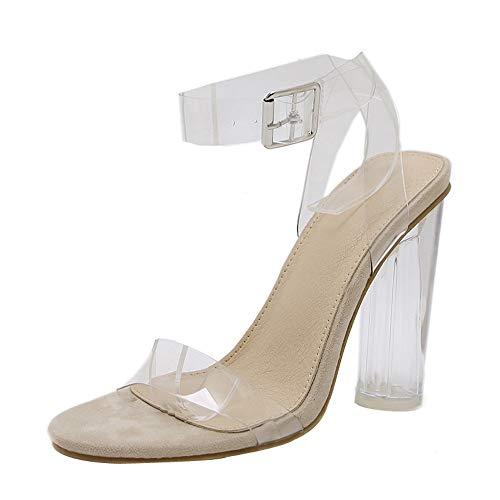 OIKAY Damen Riemchensandaletten mit Blockabsatz Pumps Hochzeit Abiball Fashion Damen Sandalen mit hohem Absatz und Haspe Transparente Freizeitschuhe