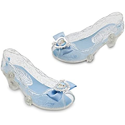 Disney Store Cinderella Shoes 7/8 Light up New Style Flowers + Heart Cameo on Satin (Cameo Bow)