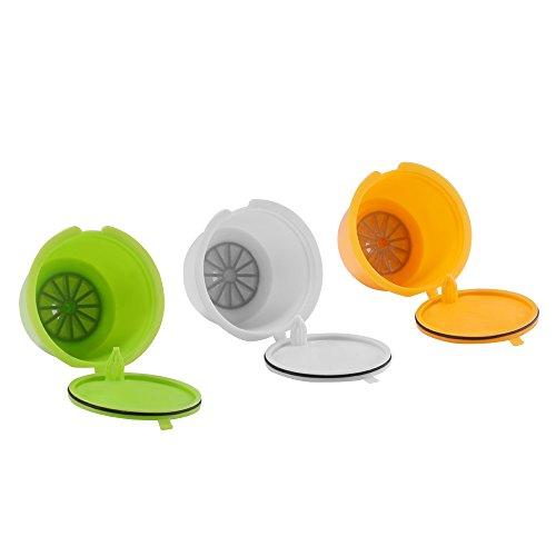 SUNJULY 3PCS Cápsulas Recargables Filtros reutilizables Compatibles Para Illy Cafetera para Nescafé Genio Piccolo Esperta Circolo (3 colores)