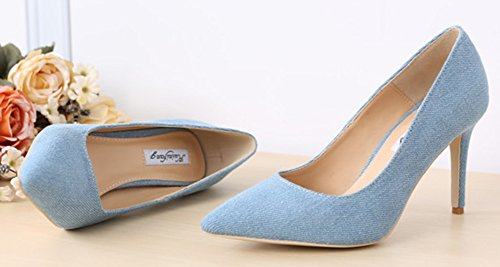 Aisun Damen Demin Suede Spitz Canvas Stiletto Pumps Hellblau 39 EU