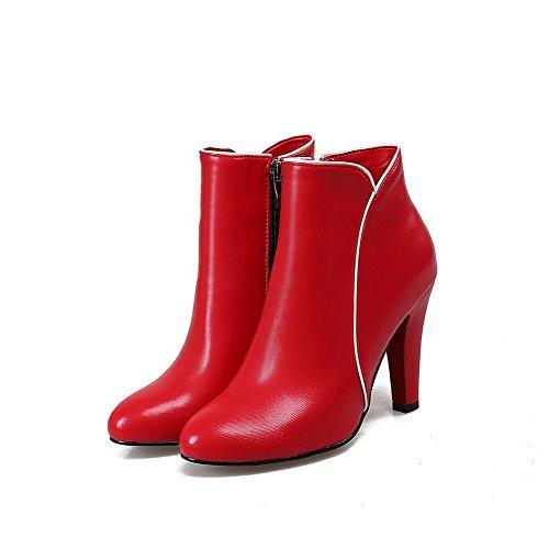 VogueZone009 Donna Cerniera Punta Tonda Tacchi Quadrati Alla Caviglia Stivali Rosso