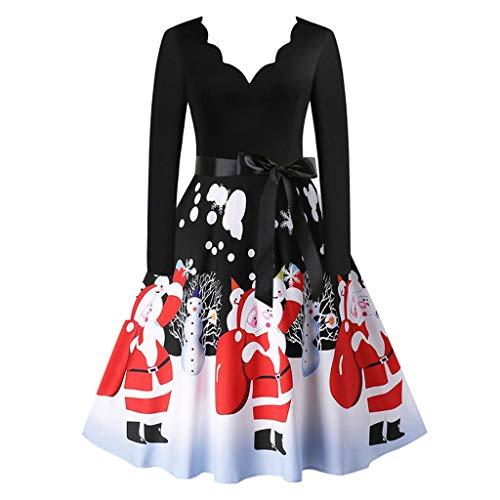 Fenverk Damen Weihnachten Kleider Langarm Weihnachtskleid Vintage Hepburn Cocktailkleid Weihnachten Druck Partykleid A-Linie Swing Kleid Dress/Weinachts Kleider Damen(N Schwarz,L)