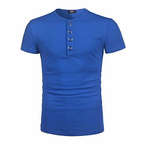 Ningsun bello camicia a maniche lunghe con bottoni a manica corta da uomo cotone t-shirt con fibbia rotonda in metallo casual ragazzo di città felpe senza cappuccio pullover(blu,s)