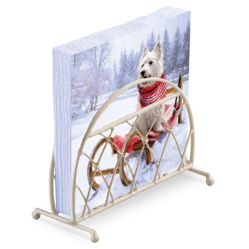 Westie Schal Schlitten Schnee Weihnachten 20 x 3 Schicht Papierservietten & Lattice Serviette Halter Set