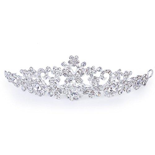 Foxnovo Zarte Hochzeit Braut Prom Shining Crystal Strass Schmetterling Liebe Blume Krone Stirnband Schleier Diadem (Silber)