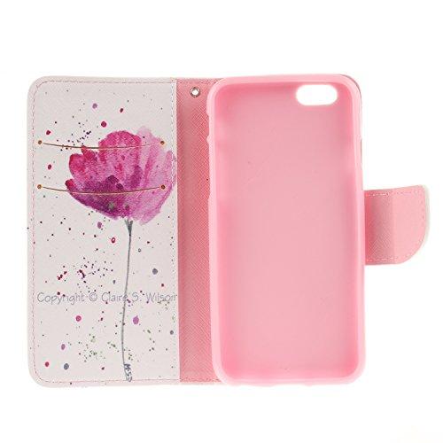 Ooboom® iPhone 8/iPhone 7 Coque PU Cuir Flip Housse Étui Cover Case Wallet Portefeuille Supporter avec Porte-cartes Fermeture Magnétique pour iPhone 8/iPhone 7 - Léopard Fleur Violet