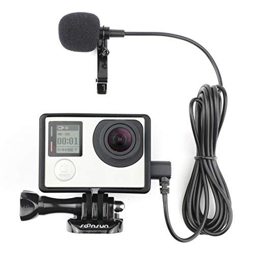 SOONSUN Rahmengehäuse mit Lavalier-Mikrofon für GoPro Hero3, Hero 3+, Hero 4 Black White und Silver Edition Kameras Black And White Kamera